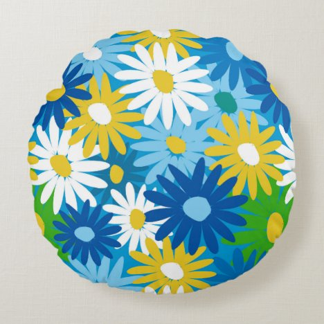 Bright cheery daisies round pillow