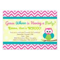 Bright Chevron Owl Birthday Party Invitation