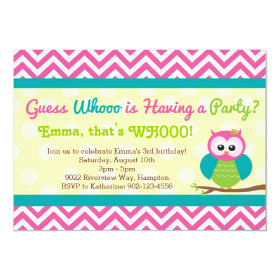 Bright Chevron Owl Birthday Party Invitation 5