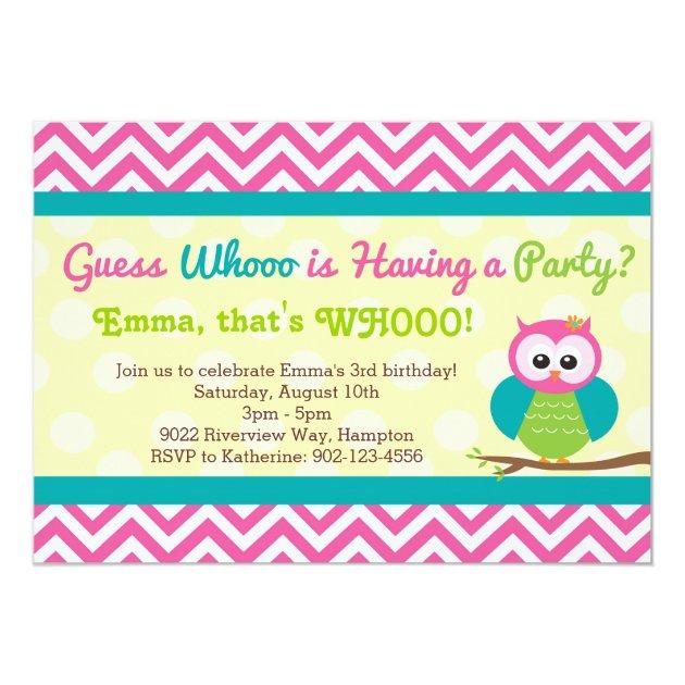 Bright Chevron Owl Birthday Party Invitation Zazzlecom