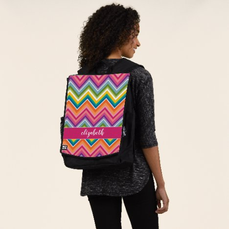 Bright Chevron Pattern with Script Name Backpack