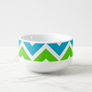 Bright Chevron Pattern Soup Bowl With Handle