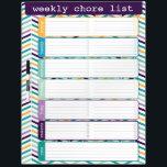 """Bright Chevron Weekly List Dry Erase Board<br><div class=""""desc"""">Bright and colorful chevron weekly chore list dry erase board by WRKDesigns.</div>"""