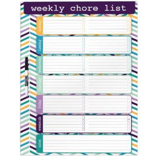 Bright Chevron Weekly List Dry Erase Board