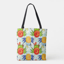Bright chicken rooster, for themed party. tote bag