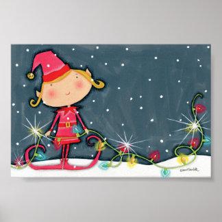 Bright Christmas Elf Poster