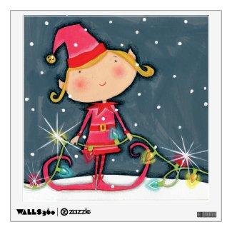 Bright Christmas Elf Wall Skins