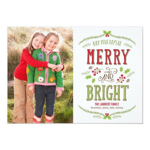 Bright Christmas Holiday Photo Card