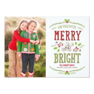 Bright Christmas Holiday Photo Card Personalized Announcement