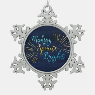 Bright Christmas Holiday Snowflake Pewter Christmas Ornament