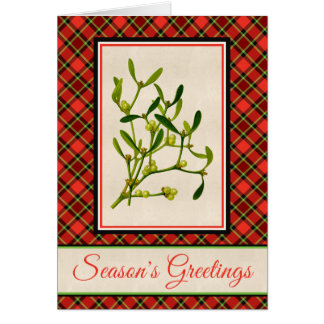 Bright Christmas Plaid and Vintage Mistletoe Card
