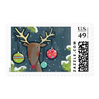 Bright Christmas Reindeer Postage