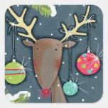 Bright Christmas Reindeer Square Sticker