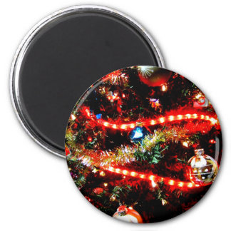 Bright Christmas Tree Trimmings 2 Inch Round Magnet