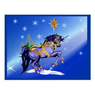 Bright Christmas Unicorn Postcard