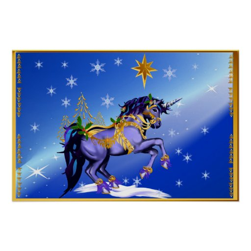 Bright Christmas Unicorn Poster
