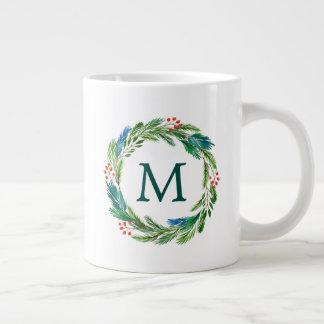 Mugs - Bright Christmas Watercolor Holly Pine Wreath Giant Coffee Mug