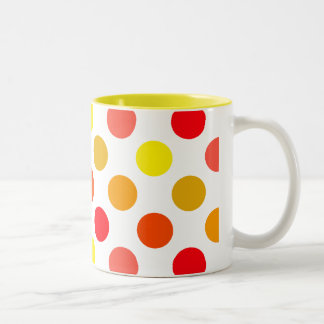 Bright Citrus Blast Polka Dots Two-Tone Coffee Mug