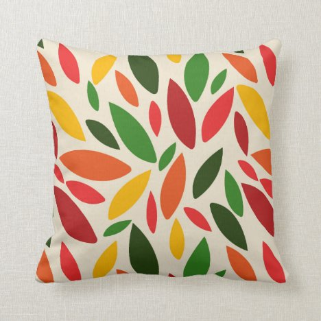 Bright citrus colored autumn fall leaves cascading throw pillow
