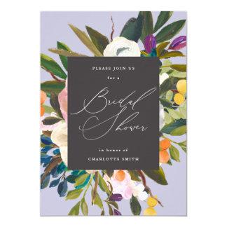 Bright Citrus Flowers | Purple | Bridal Shower Invitation