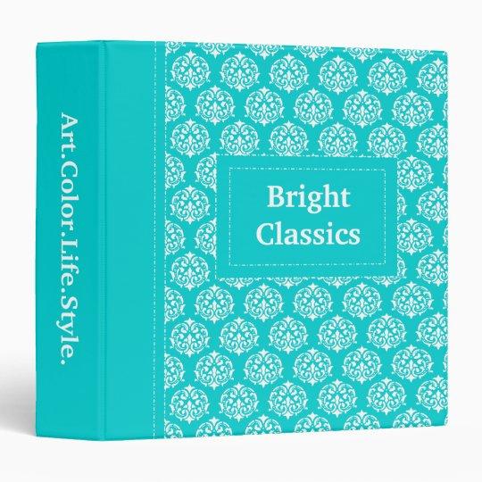 Bright Classics Turquoise Victorian Pattern Custom 3 Ring Binder