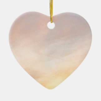 """""""BRIGHT CLOUDS SUNRISE BLUE AND YELL Double-Sided HEART CERAMIC CHRISTMAS ORNAMENT"""