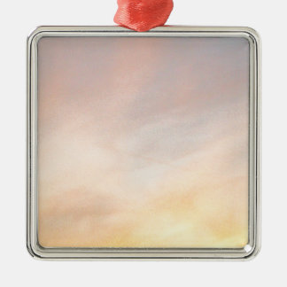 """""""BRIGHT CLOUDS SUNRISE BLUE AND YELL SQUARE METAL CHRISTMAS ORNAMENT"""