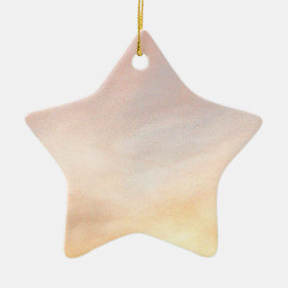 """""""BRIGHT CLOUDS SUNRISE BLUE AND YELL Double-Sided STAR CERAMIC CHRISTMAS ORNAMENT"""
