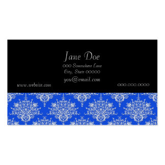Bright Cobalt Blue and White Floral Damask Business Card Template