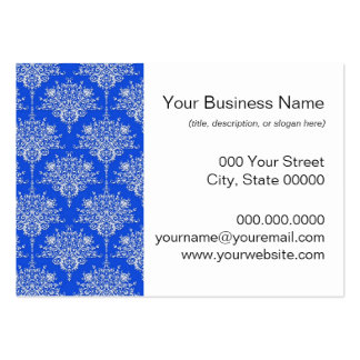 Bright Cobalt Blue and White Floral Damask Business Card
