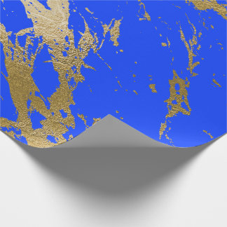 Bright Cobalt Blue Gold Marble Shiny Glam Wrapping Paper