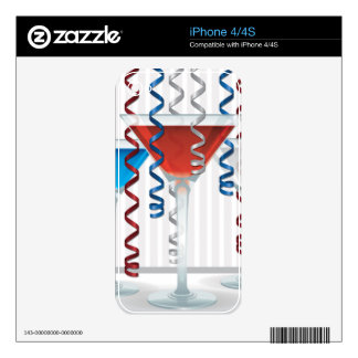 Bright cocktail and ribbon iPhone 4 skin