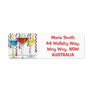 Bright cocktail and ribbon label