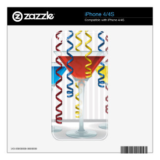 Bright cocktail and ribbon skins for iPhone 4