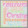Bright Color Name Modern Personalized Collage Girl Fabric