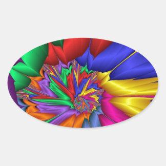Bright Color Spiral Oval Sticker