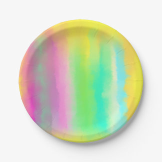 Bright Color Stripes Abstract Oil Painting Paper Plate