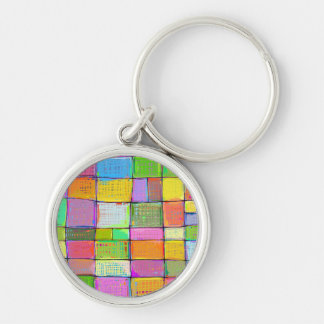 Bright color vibrant fun modern abstract quilt art Silver-Colored round keychain