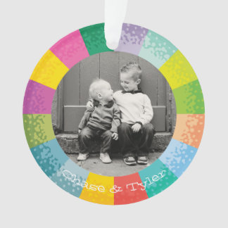 Bright Color Wheel Round Photo Holiday Ornament