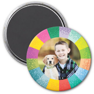 Bright Color Wheel Round Photo Magnet