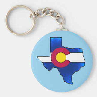 Bright Colorado flag Texas outline round keychain