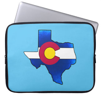 Bright Colorado flag Texas shape laptop sleeve