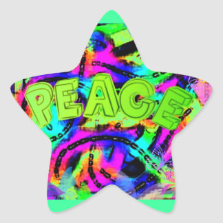 Bright Colored Abstract art Peace Sign Star Sticker