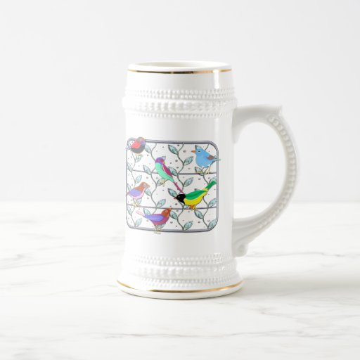 Bright Colored Birds on a Trellis 18 Oz Beer Stein