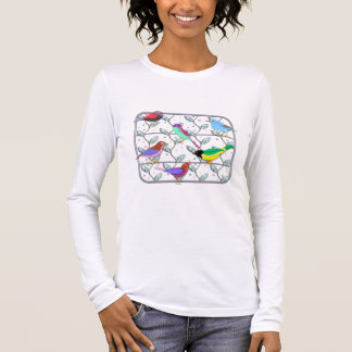 Bright Colored Birds on a Trellis Long Sleeve T-Shirt