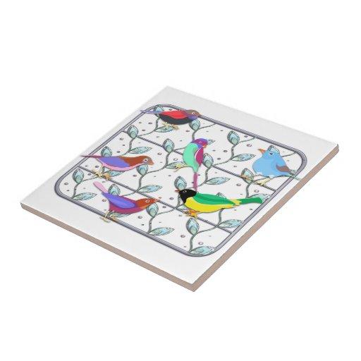 Bright Colored Birds on a Trellis Small Square Tile