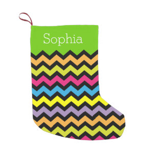 Bright Colored Black Zigzags Personalized Small Christmas Stocking
