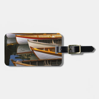 Bright colored boats at the Wooden Boat Center Bag Tag