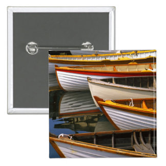 Bright colored boats at the Wooden Boat Center 2 Inch Square Button