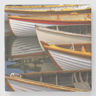 Bright colored boats at the Wooden Boat Center Stone Beverage Coaster